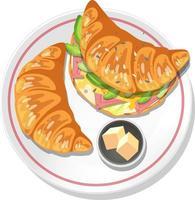 Petit déjeuner croissant sandwich au beurre sur une assiette isolée vecteur