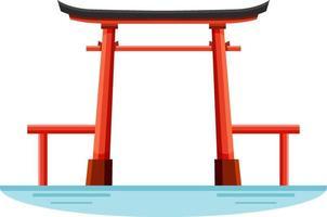 un monument de la porte torii du sanctuaire shinto au japon vecteur