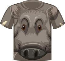 devant du t-shirt avec motif visage de sanglier vecteur