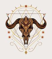 chaleur de chèvre mythique avec ornement celtique, modèle d'illustration pour tatouage, t-shirt, vêtements. vecteur
