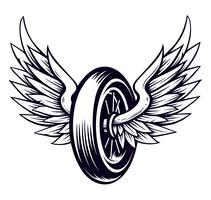 Roue de moto de vecteur avec des ailes