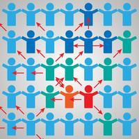 Modèle de brochure publicitaire avec des personnes connectées