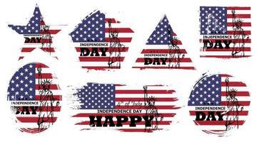 4 juillet fête de l'indépendance des états-unis. ensemble de diverses formes grunge avec drapeau américain et conception de dessin de statue de la liberté. vecteur d'éléments