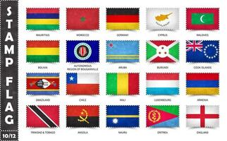 timbre avec le motif officiel du drapeau du pays et l'ancienne texture grunge et le nom du pays. forme rectangulaire. vecteur. ensemble 10 sur 12 sur cette série. tous les drapeaux nationaux du monde. vecteur