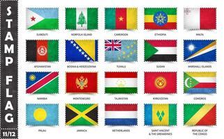 timbre avec le motif officiel du drapeau du pays et l'ancienne texture grunge et le nom du pays. forme rectangulaire. vecteur. ensemble 11 sur 12 sur cette série. tous les drapeaux nationaux du monde. vecteur