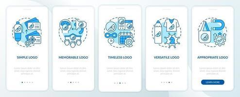 règles de conception de logo d'intégration de l'écran de la page de l'application mobile avec des concepts. Instructions graphiques simples et mémorables en 5 étapes. modèle vectoriel ui, ux, gui avec des illustrations en couleurs linéaires