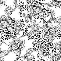 Modèle sans couture de tissu éclectique. Fond animal avec ornement baroque. vecteur