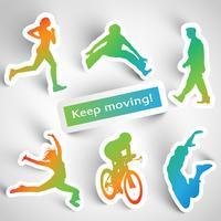 """""""Continuez à bouger!"""" autocollants de sport"""