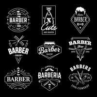 emblèmes rétro de vecteur de magasin de coiffeur