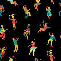 Mardi Gras. Modèle sans couture avec drôles hommes et femmes dansant en costumes lumineux.