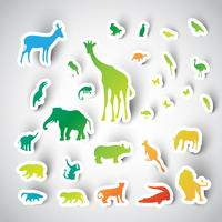 Collection d'animaux autocollant Zoo, vector