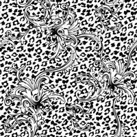 Modèle sans couture de tissu éclectique. Fond animal avec ornement baroque.