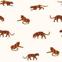 Transparente motif exotique avec des silhouettes abstraites des tigres. vecteur