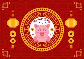 Nouvel An chinois 2019 vecteur