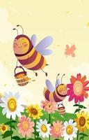 les abeilles mignonnes portent du miel vecteur