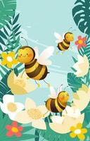 abeilles mignonnes de dessin animé vecteur