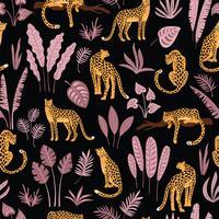 Modèle sans couture Vestor avec des feuilles de léopards et tropicales. vecteur