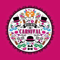 Illustration festive de célébration avec des icônes et des objets de carnaval