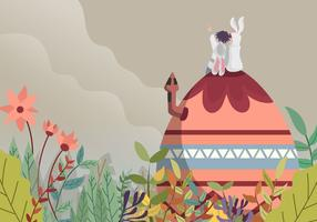 Bunny Celebrate Easter Day Wallpaper Illustration vecteur