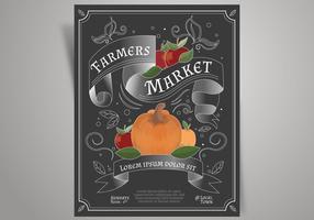 Vecteur de flyer design rétro agriculteurs marché