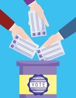 mains insérant le bulletin de vote vecteur