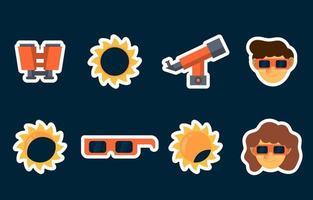 collection d'autocollants éclipse solaire vecteur