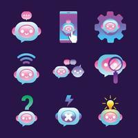 collection d'icônes de chatbot vecteur