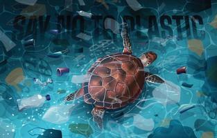dites non au plastique avec le concept de tortue de mer vecteur