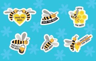 ensemble d'autocollants de protection des abeilles vecteur