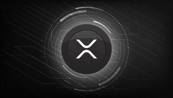 bannière sur le thème de la monnaie crypto ripple xrp. Pièce d'ondulation ou icône xrp sur fond de couleur noire moderne. vecteur