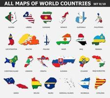 toutes les cartes des pays et des drapeaux du monde. ensemble 8 sur 10 . collection de forme de contour de carte de pays internationale avec ombre. conception plate. vecteur. vecteur