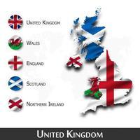 carte et drapeau du royaume-uni de grande-bretagne. ecosse. Irlande du Nord . Pays de Galles . Angleterre . onduler la conception textile. fond de carte du monde de points. vecteur. vecteur