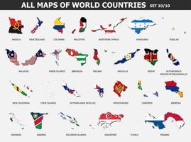 toutes les cartes des pays et des drapeaux du monde. ensemble 10 sur 10 complet. collection de forme de contour de carte de pays internationale avec ombre. conception plate. vecteur. vecteur