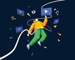 vecteur de concept d'illustration de la consommation des médias