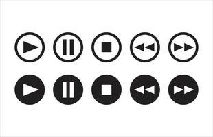 lecture de musique et de films, pause, rembobinage, avance, arrêt des icônes de contour et de remplissage vecteur