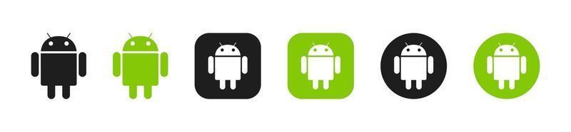 collection d'icônes vertes du système d'exploitation android vecteur
