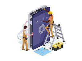 Vecteur de personnes sous la forme d'un service de réparation de téléphone