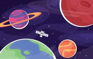 fond de l'espace terre et planète avec satellite vecteur