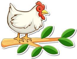 autocollant de poulet debout sur une branche vecteur