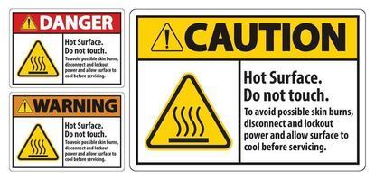 surface chaude, ne pas toucher, pour éviter d'éventuelles brûlures cutanées, déconnecter et verrouiller l'alimentation et laisser la surface refroidir avant de réparer le signe de symbole isoler sur fond blanc, illustration vectorielle vecteur