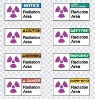 Définir le signe du symbole de la zone de rayonnement sur fond transparent vecteur