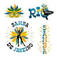 Carnaval brésilien. Grand ensemble d'emblèmes de vecteur