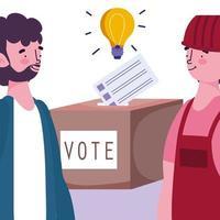 concept de vote et d'élection, différentes personnes avec bulletin de vote et urne vecteur