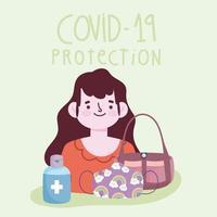 nouveau mode de vie normal, femme avec masque de sac à main et bouteille de gel désinfectant vecteur