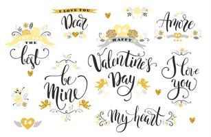 Joyeuse saint Valentin. Ensemble d'inscriptions dessinées à la main. vecteur