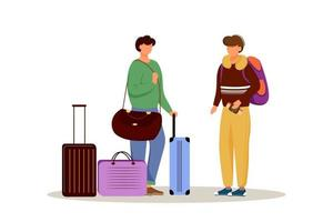 amis avec illustration vectorielle plane de bagages. se préparer pour un voyage. couple marié avec des valises. partir en vacances. personnage de dessin animé isolé préparation voyage sur fond blanc vecteur