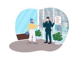 règles de magasin de pandémie de covid bannière web vectorielle 2d vecteur