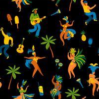 Carnaval du Brésil. Modèle sans couture avec drôles d'hommes et de femmes dansant en costumes lumineux. vecteur
