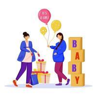 femmes enceintes avec des cadeaux de douche de bébé illustration vectorielle plane. les femmes enceintes attendent leur petite fille. Mesdames se préparant à la maternité des personnages de dessins animés isolés sur fond blanc vecteur