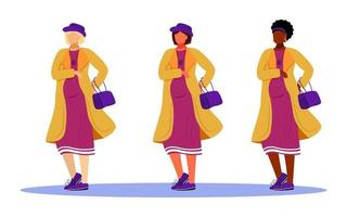 Ensemble d'illustrations vectorielles à plat pour femmes enceintes. préparation à la maternité des dames actives. filles debout de différentes races en attente de bébés personnages de dessins animés isolés sur fond blanc vecteur